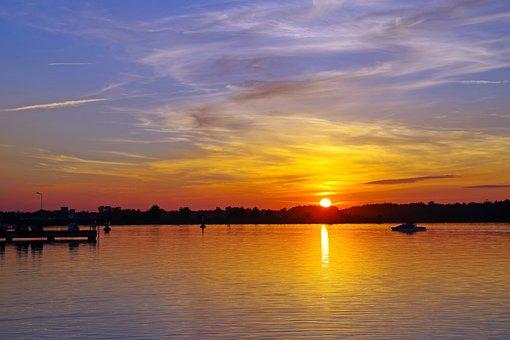 Bay Bima Heat, Lake, Boat, Holiday, Sunset, Sunrise