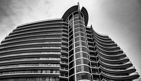 Building, High Rise, Black And White, City