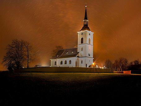 Night, Church, Sta, Lights, Silent