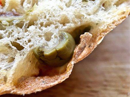 Bread, Bread Roll, Ciabatta Roll, Crumbs, Close Up