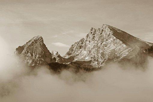 Black White, Watzmann, Clouds, Fog, Sea Of Fog, Alpine