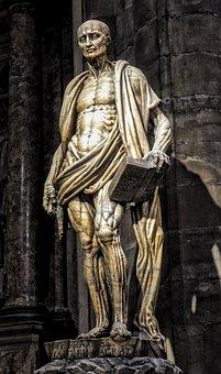 Statue, Man, Barthalomäus, Milan Cathedral, Figure