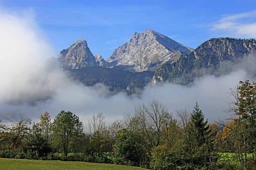 Mountains, Nature, Watzmann, Landscape, Panorama, Fog