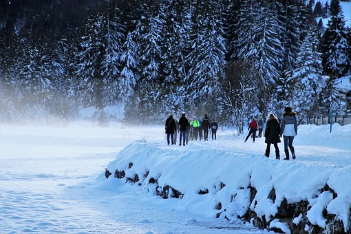 Beach, Alpine, Lake, Frozen, Snow, Spacer, Cold, Freeze