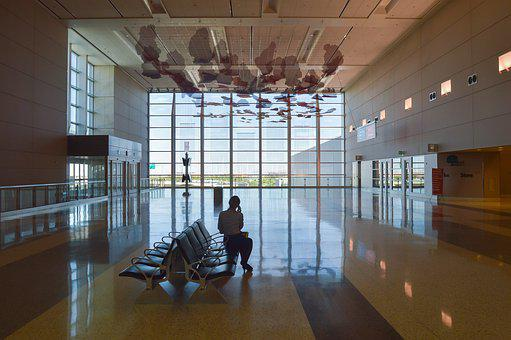 Airport, Hall, Wait, Window, Large, Art, Reflecting