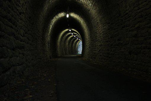 Tunnel, Gloomy, Light, Dark, Wall, Architecture, Shadow