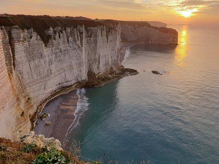 Falaise, Entretat, Normandie, France, Paysage
