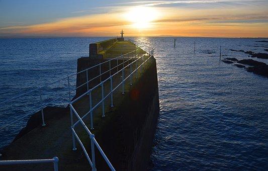 Pier, Harbour, Harbor, Ocean, Sea, Coast, Sunset, Port