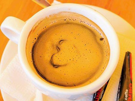 Coffee, Foam, Aroma, Porcelain, Saucer, Cup, Heart