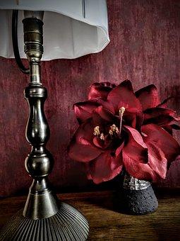 Silk Flower, Lamp, Interior Design, Red, Wood, Petals