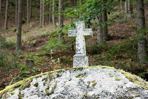 Cross, Forest, Stone, Religion, Grave, Trees, Cemetery