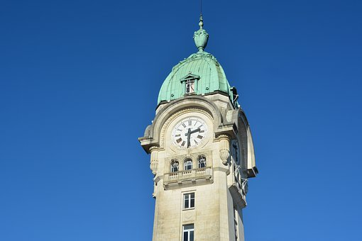 Campanile, Clock, Station, Limoges, Roof Copper