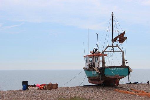 Boat, Beach, Sea, Sky, Shore, Blue, Fishing, Coastline