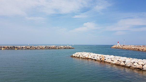 Port, Ocean, Sea, Canet-en-roussillon, Water, Ship