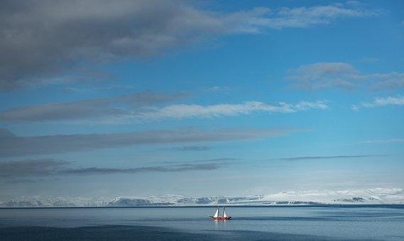 Sail Boat, Water, Sea, Clouds, Blue, Svalbard