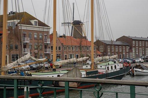 Port, Mill, Sea, Water, Boats, Sailing Boat, Boat