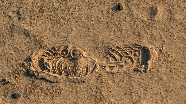 Track, Imprint, Sand, Feet, Traces, Shoes, Beach, Steps