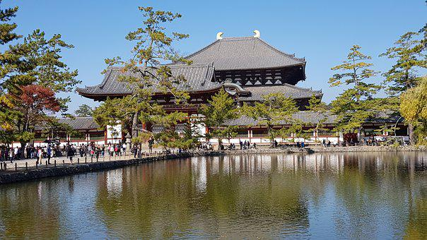 Japan, Todaiji, Buddhist Temple, Sunshine, Reflection