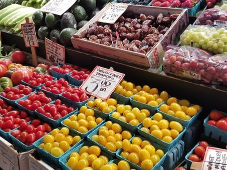 Farmers Market, Pike Place, Vegetables, Radishes