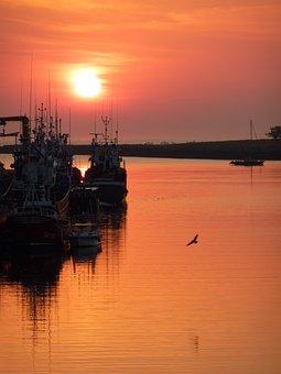 Sunrise, Boat, Sea, Reflection, Morning, Fisherman