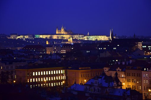 Prague, Castle, Winter, Night, Lights, Medieval