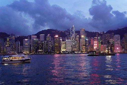 Hong Kong, Harbour, City, Building, Evening, Ocean, Sea