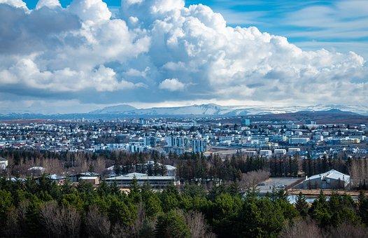 Iceland, Reykjavik, City, Panorama, View, Mountain