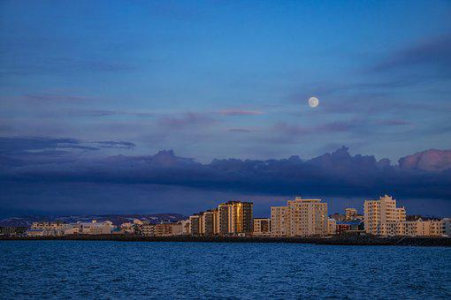 Iceland, Reykjavik, Promenade, Panorama, View, City