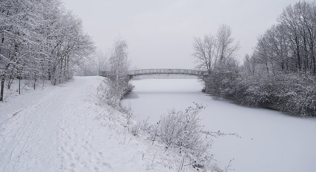 Winter, Blue, Cold, Snow, Bridge, Ice, Nature, Frozen