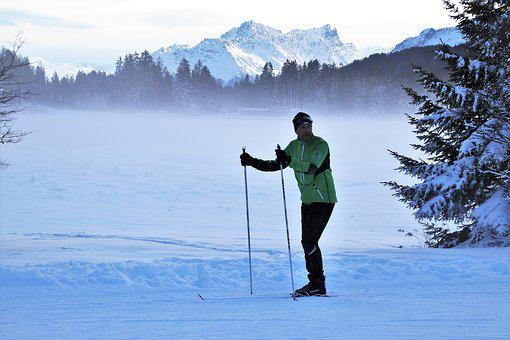Skier, Icy, Alpine, Lake, Frozen, Snow, Relaxation