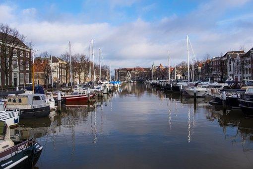 Buitenland, Dordrecht, Holland, City, Port, Boats