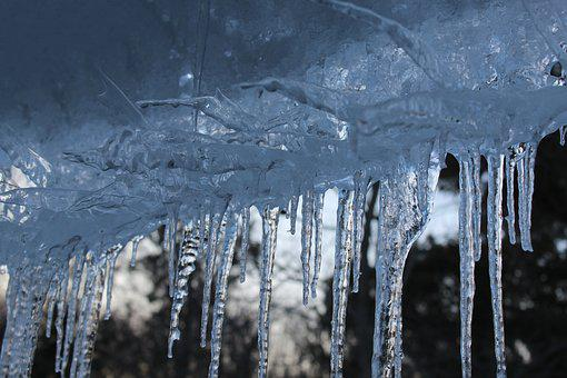 Icicles, Winter, Cold, Roof, Blue, Transparent, Ice