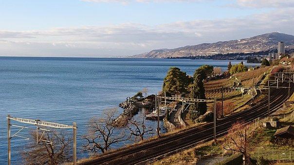 Lake, Geneva, Veytaux, Switzerland, Landscape, Montreux