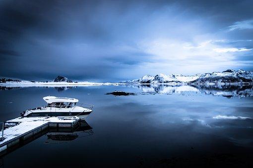 Lofoten, Norway, Sea, Boat, Winter