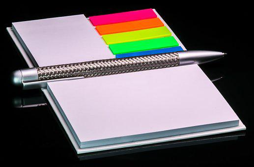 Office, Writing Pad, Notes, Pen, Block, Paper, Colorful
