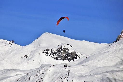 Parachute, Paragliding, Snow, Mountains, Paraglider