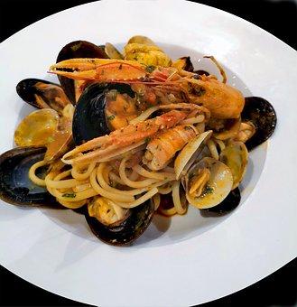 Spaghetti, Pasta, Seafood, Mold, Lobster, Plate, Flat
