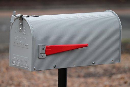 Postbox, Mailbox, Metal, American, Flag, Ad, Red, Send