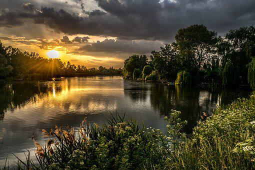 Evening, River, Sky, Nature, Reflection, Water, Lights