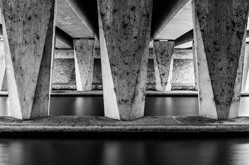 Pillars, Water, Architecture, River, Bridge