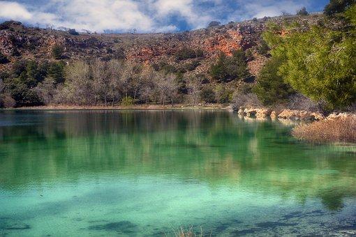 Laguna, Mountain, Nature, Sky, Green, Ruidera