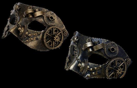 Mask, Steampunk, Metal, Metal Mask, Gears, Chain, Iron