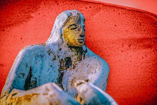 Sculpture, Stone, Figure, Man, Backlighting, Sitting