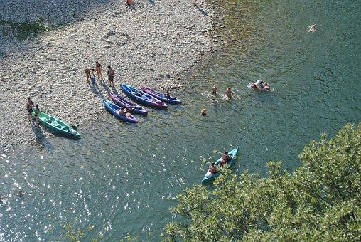 Summer, River, Kayak, Travel, Kanoë, Holiday, Beach