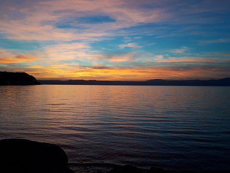 Lake, Bracciano, Sunset, Holidays