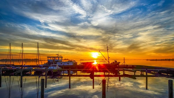 Landscape, Sunset, More, Water, Boat, Beautiful, Rest