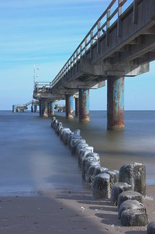 Jetty, Sea, Winter, Frost, Ice, Landscape, Water