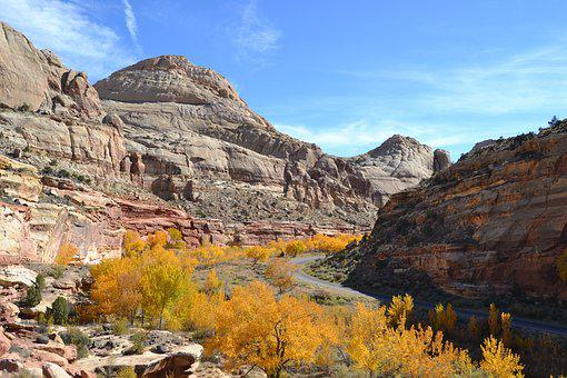 Autumn, Capitol Reef, National Park, Scenery, Usa