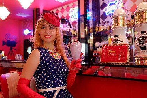 America, Café, Pin-up Girl, Fortieth, America 1950