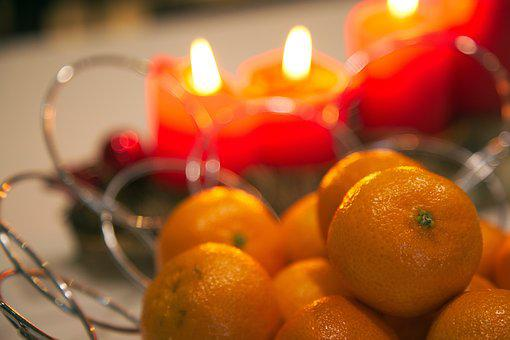 Christmas, Candles, Orange, Clementine, Heat, Flame